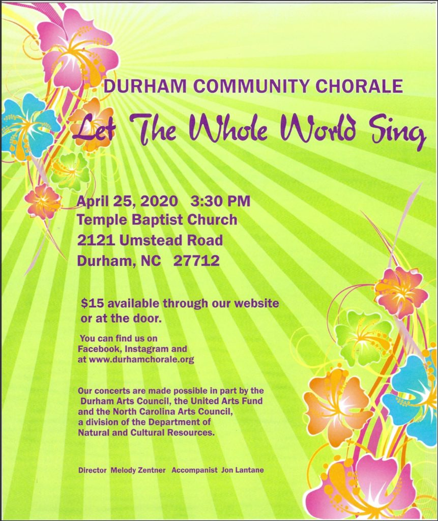 POSTPONED: Durham Community Chorale - Let the Whole World Sing @ Temple Baptist Church